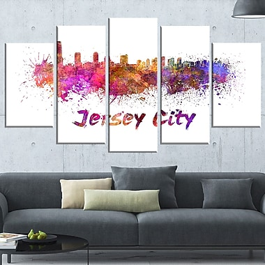 Jersey City Skyline Cityscape Metal Wall Art, 60x32, 5 Panels, (MT6601-373)