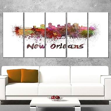 New Orleans Skyline Cityscape Metal Wall Art, 60x28, 5 Panels, (MT6602-401)