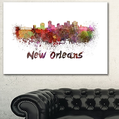 New Orleans Skyline Cityscape Metal Wall Art, 28x12, (MT6602-28-12)