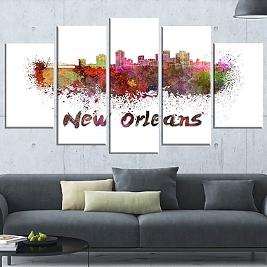 New Orleans Skyline Cityscape Metal Wall Art, 60x32, 5 Panels, (MT6602-373)