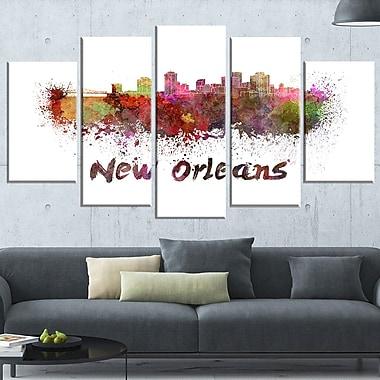 Art mural en métal, paysage urbain, ligne d'horizon de La Nouvelle-Orléans, 60 x 32, 5 panneaux (MT6602-373)