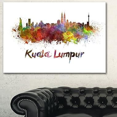 Art mural en métal, paysage urbain, ligne d'horizon de Kuala Lumpur, 28 x 12 (MT6603-28-12)