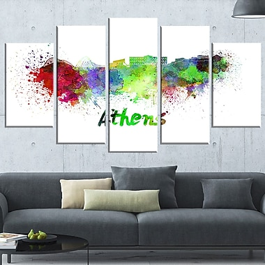 Athens Skyline Cityscape Metal Wall Art, 60x32, 5 Panels, (MT6604-373)