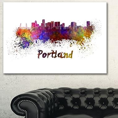 Art mural en métal, paysage urbain, ligne d'horizon de Portland, 28 x 12 (MT6605-28-12)