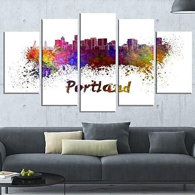 Portland Skyline Cityscape Metal Wall Art, 60x32, 5 Panels, (MT6605-373)