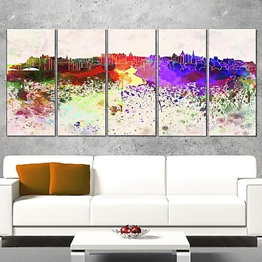 Edinburgh Skyline Cityscape Metal Wall Art, 60x28, 5 Panels, (MT6606-401)