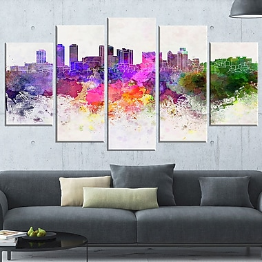 Colombo Skyline Cityscape Metal Wall Art, 60x32, 5 Panels, (MT6607-373)