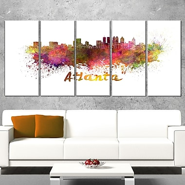 Atlanta Skyline Cityscape Metal Wall Art, 60x28, 5 Panels, (MT6608-401)