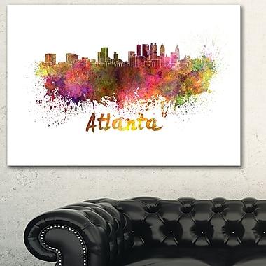 Art mural en métal, paysage urbain, ligne d'horizon d'Atlanta, 28 x 12 (MT6608-28-12)