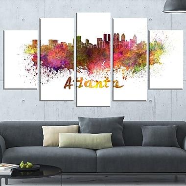 Art mural en métal, paysage urbain, ligne d'horizon d'Atlanta, 60 x 32, 5 panneaux (MT6608-373)
