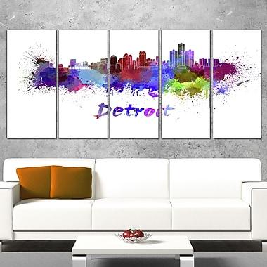 Art mural en métal, paysage urbain, ligne d'horizon de Detroit, 60 x 28, 5 panneaux (MT6611-401)