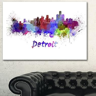 Detroit Skyline Cityscape Metal Wall Art, 28x12, (MT6611-28-12)