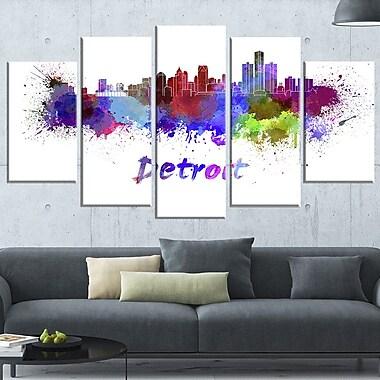 Detroit Skyline Cityscape Metal Wall Art, 60x32, 5 Panels, (MT6611-373)