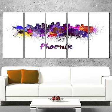 Phoenix Skyline Cityscape Metal Wall Art, 60x28, 5 Panels, (MT6613-401)