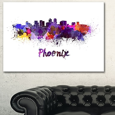 Art mural en métal, paysage, horizon urbain de Phoenix, 28 x 12 (MT6613-28-12)