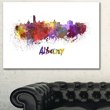 Albany Skyline Cityscape Metal Wall Art, 28x12, (MT6614-28-12)