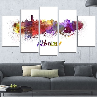 Albany Skyline Cityscape Metal Wall Art, 60x32, 5 Panels, (MT6614-373)