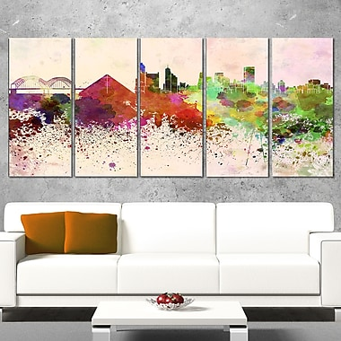 Memphis Skyline Cityscape Metal Wall Art, 60x28, 5 Panels, (MT6615-401)