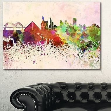 Memphis Skyline Cityscape Metal Wall Art, 28x12, (MT6615-28-12)