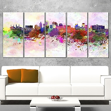 Kansas City Skyline Cityscape Metal Wall Art, 60x28, 5 Panels, (MT6617-401)