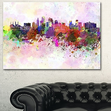Kansas City Skyline Cityscape Metal Wall Art, 28x12, (MT6617-28-12)