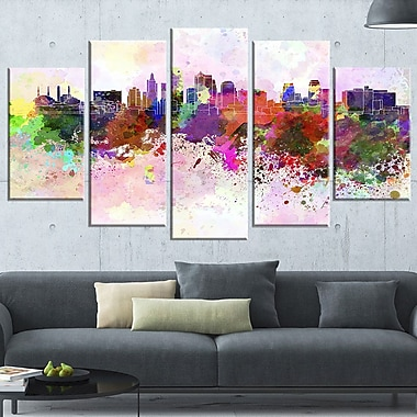 Kansas City Skyline Cityscape Metal Wall Art, 60x32, 5 Panels, (MT6617-373)