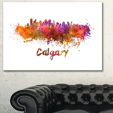 Calgary Skyline Cityscape Metal Wall Art, 28x12, (MT6618-28-12)