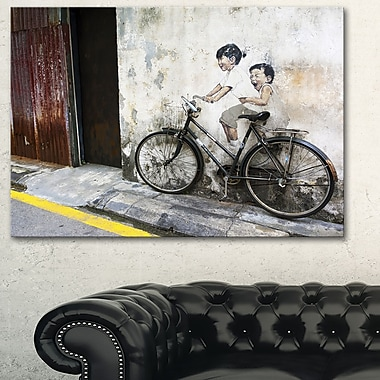 Little Children on a Bicycle Photo Metal Wall Art, 28x12, (MT6620-28-12)
