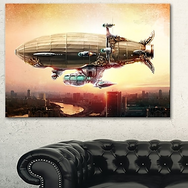 Dirigible Balloon in Sky over City Metal Wall Art, 28x12, (MT6628-28-12)