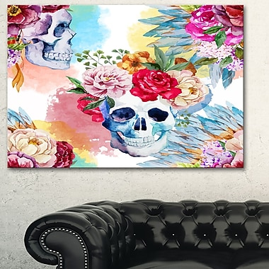 Ethnic Skull with Flowers Floral Metal Wall Art, 28x12, (MT6631-28-12)