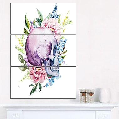 Skull with Flower Borders Digital Floral Metal Wall Art, 28x36, 3 Panels, (MT6633-28-36)