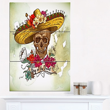 Skull in Sombrero with Flowers Floral Metal Wall Art, 28x36, 3 Panels, (MT6635-28-36)