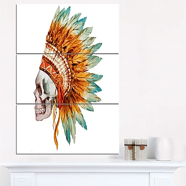 Skull with Feathers Digital Metal Wall Art, 28x36, 3 Panels, (MT6636-28-36)