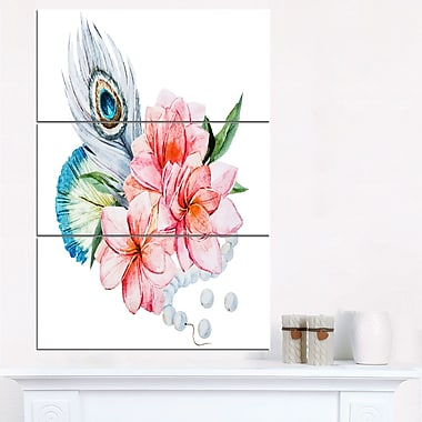 Flowers and Peacock Feather Floral Metal Wall Art