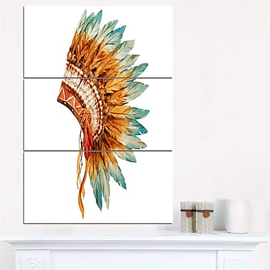 Feathers on Ethnic Skull Digital Metal Wall Art, 28x36, 3 Panels, (MT6638-28-36)
