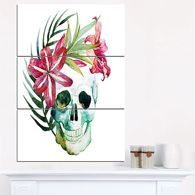 WaterColour Skull with Flowers Floral Metal Wall Art, 28x36, 3 Panels, (MT6639-28-36)