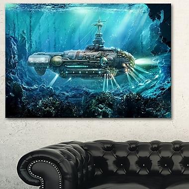 Sous-marin fantastique, art mural numérique en métal, 28 x 12 (MT6641-28-12)
