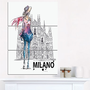 Girl on a Milano Duomo Contemporary Metal Wall Art, 28x36, 3 Panels, (MT6643-28-36)