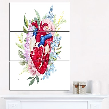 WaterColour Heart with Flowers Digital Metal Wall Art, 28x36, 3 Panels, (MT6645-28-36)