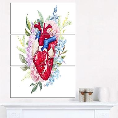Cœur et fleurs en aquarelle, art mural numérique en métal, 28 x 36, 3 panneaux (MT6645-28-36)