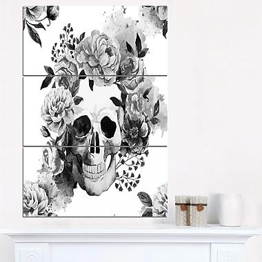 Art mural en métal, aquarelle pivoine et crâne numérique, 28 x 36 po, 3 panneaux, (MT6648-28-36)
