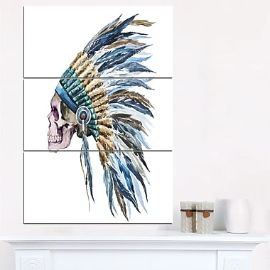 Art mural en métal, illustration numérique, crâne d'Amérindien avec coiffe traditionnelle