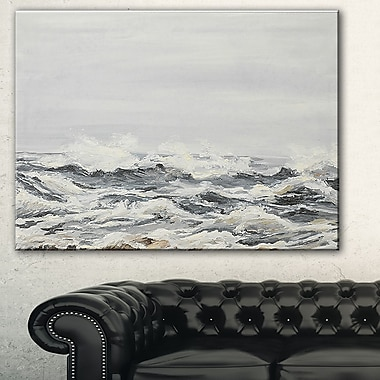 Grey Sea Waves Seascape Painting Metal Wall Art, 28x12, (MT7625-28-12)