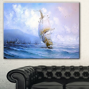 Vessel in Blue Sea Seascape Painting Metal Wall Art, 28x12, (MT7627-28-12)