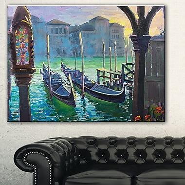 Paysage peint Gondoles de Venise, art mural en métal, 28 x 12 (MT7628-28-12)