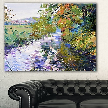 Fall in Amazing Colours Landscape Painting Metal Wall Art, 28x12, (MT7629-28-12)