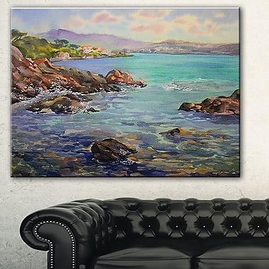 Paysage peint Côte d'Azur en France, art mural en métal, 28 x 12 (MT7630-28-12)