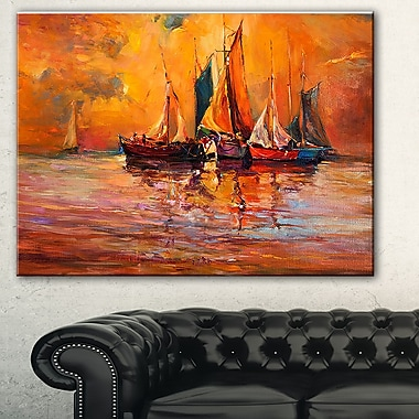 Boats and Ocean in Red Seascape Painting Metal Wall Art, 28x12, (MT7632-28-12)
