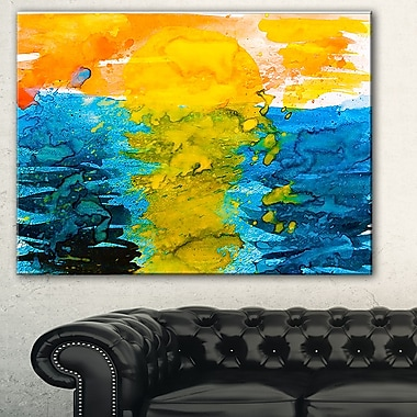 Sea Texture in Yellow Blue Abstract Metal Wall Art, 28x12, (MT7634-28-12)