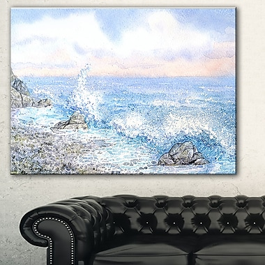 Blue WaterColour Waters Seascape Metal Wall Art, 28x12, (MT7636-28-12)